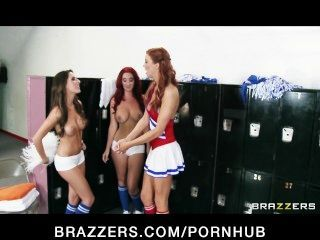 Two Hot Lesbian Cheerleaders Start An Orgy In The Locker Room