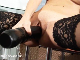 Brunette Slamming A Big Black Brutal Dildo Fast And Hard In Her Pussy