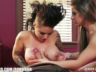 Christy Mack And Rachel Roxxx Take Turns Riding A Huge Cock