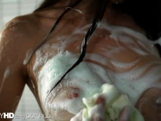 Veronica Takes A Nice Hot Shower Before Letting Her Man Shower Her And Cum.