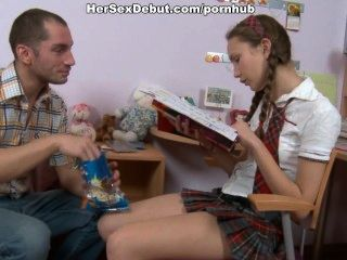 Silly Schoolgirl Getting Her First Fuck Lesson With Cumshot