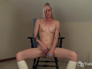 Tattooed Blonde Ari Fucks A Blue Dildo