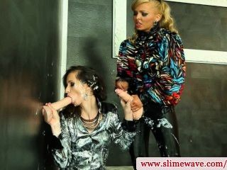 Bukkake Lesbian Pegged At Gloryhole From Behind In Hd