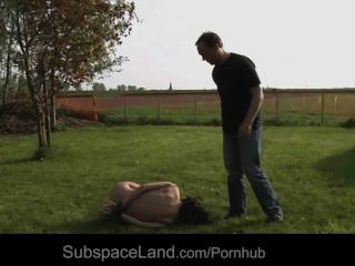 Rigid Dominator Torments Hard His Slave Outdoor