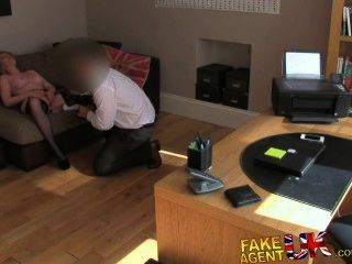 Fakeagentuk Stocking Clad Milf Gives Oral Feast On Casting Couch