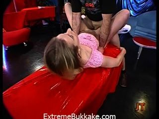Tiny Blondie Babe Gets A Mouth Full Of Semen After A Huge Gangbang