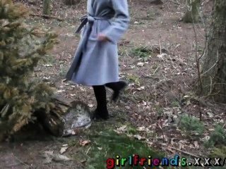 Girlfriends Lesbians Kiss And Eat Hairy Pussy In The Woods