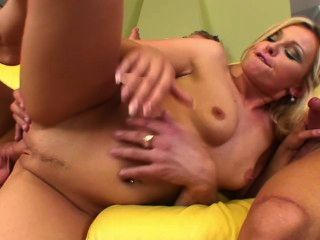 Babe Gets Fucked By Two Guys On The Couch