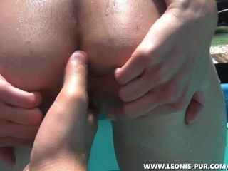 Horny Teen Fucked At The Pool! Neighbors Sitting Next Door!