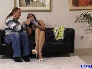 Mature euro glamour takes two dicks