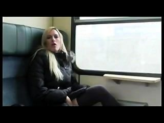 German Chick Toys Herself In Public And Enjoys Warm Load In Mouth
