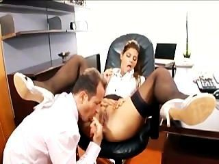 Secretary With Glasses Fucked In Stockings And Garter Belt