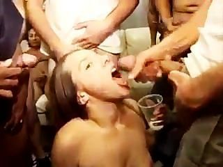 Girl Drinks Sticky Sperm
