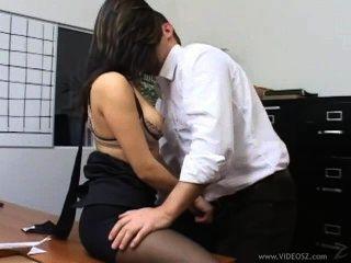 Brunette Secretary In Hot Pantyhose Fucking Boss