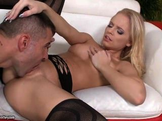 Blonde Anal Babe In Stockings