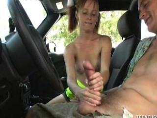 Horny Teen Babe Handjob In The Car
