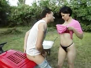 Whore Pumped Outdoor On A Tractor