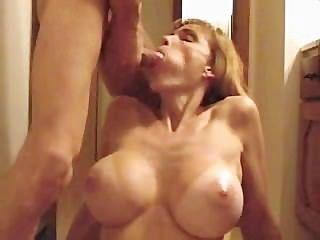 Hot Blonde Big Tit Milf Gives Nice Blowjob
