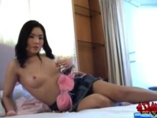 Asian Teen Strips Fingers And Fucks Her Hairy Tight Pussy With A Toy