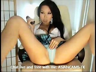 Super Hot Asian With Big Boobs Stripping And Masturbating