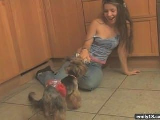 Teen Striptease In The Kitchen