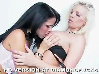 Diamond Kitty And Britney Amber On White