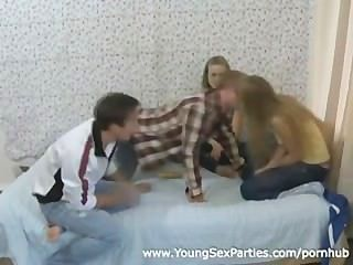 Naive Teen Cuties Enjoy A Quick Foursome