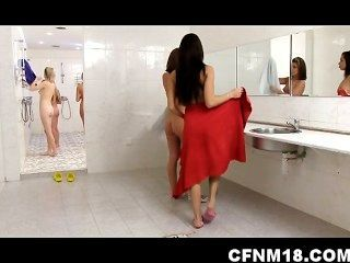 Girls Undress And Humiliate Some Dude Peeping On The In Shower