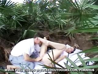 Young Couple Fucks In The Palms