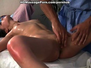 A Massage Young Brunette Fucked In All Holes