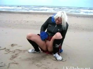 Squirting Beach Babe In Blonde Teen Public Nudity And Seaside Pussy Flashin