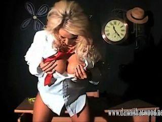 Slutty Blonde Schoolgirl Dannii Harwood Oils Up Her Big Juicy Tits In Class