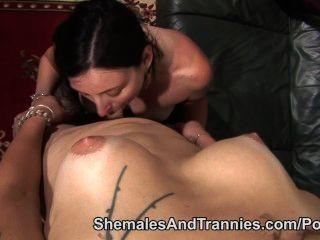 Female Deepthroats Shemale Cock