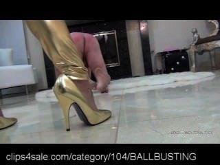 brutal bdsm high heel ballbusting
