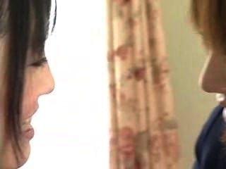 Cute Lesbian Schoolgirls Afterclass Kiss