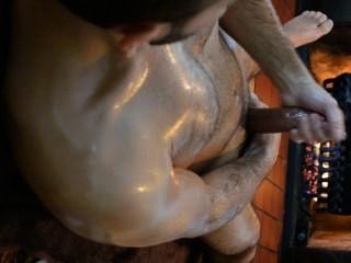 Fireplace Oiled Up Jerk And Cumshot...