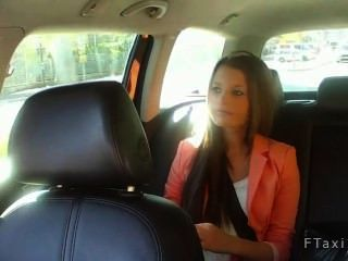 Hot Shaved Twat Brunette Fucked In Taxi In Public