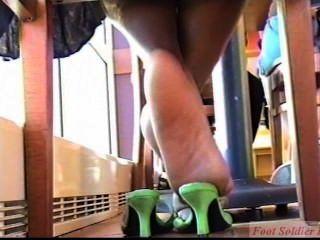 Ebony High Heel Heat (candid Feet And Shoeplay)