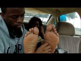 Ebony Feet Tickled In The Car