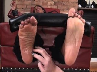 Feet Up And Oiled Feet Tickled