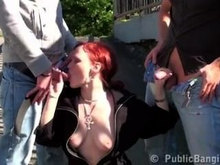 Public Triad Sexual Act By A Bus Stop Awesome