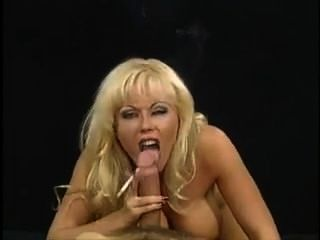 Bimbo Blonde Smokes And Sucks Cock
