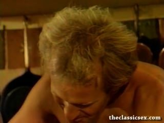 Retro Babe Sucks Cock In The Kitchen