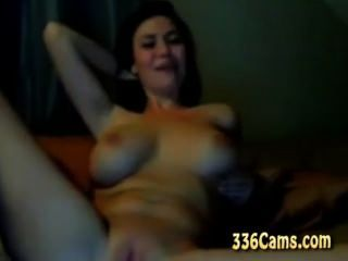 Busty Raven Haired Girl Playing On Webcam