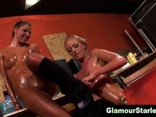Slutty Glam Lesbians Eat Pussy