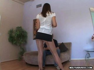 This Sexy Milf In Stockings Is Sucking Cock And Fucking
