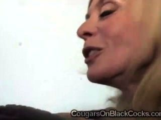 Gorgeous Blonde Cougar In Sexy Stockings Enjoys Meaty Black Rodblack