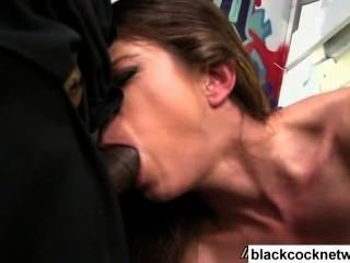 Interracial Bukkake Slut Fucks 8 Black Men