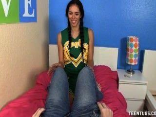 Teen Brunette Jerks Off A Big Prick