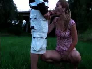 Outdoor Blowjob With Facial Cumshot